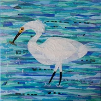 """White Egret Wading"", 12""x12"" mixed media collage by Ruth Warren"