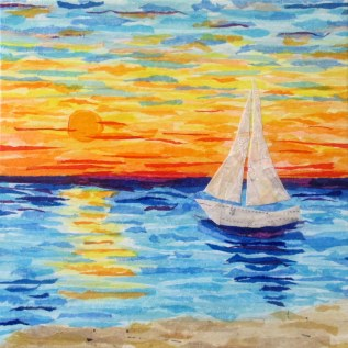 """Sailboat Sunset"", 12""x12"" mixed media by Ruth Warren"
