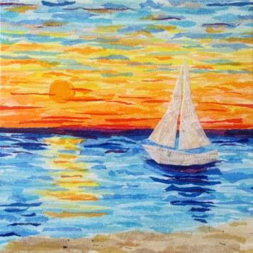 """Sailboat Sunset"", 12""x12"" mixed media by Ruth Warren"