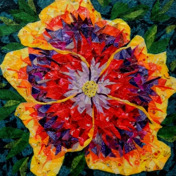 """Night Runner Hibiscus"" by Ruth Warren, 12""x12"" mixed media featuring fabric mosaic and tissue collage"