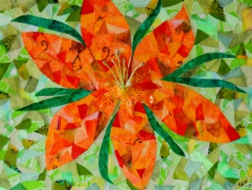 """Orange Daylily"", 9""x12"" fabric mosaic by Ruth Warren"
