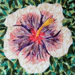 """Tahitian Pink Princess Hibiscus"", 12""x12"" mixed media by Ruth Warren"