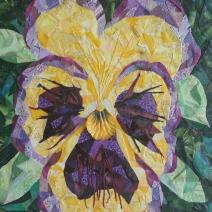 """Yellow Pansy"", 10""x10"" fabric mosaic on canvas by Ruth Warren"
