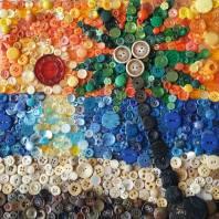 """""""Button Beach"""", 12""""x12"""" button mosaic by Ruth Warren"""