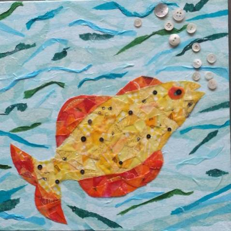 """Cheeky Fish #3"", 12""x12"" mixed media by Ruth Warren"