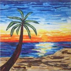 """""""Beach Sunset"""", 12""""x12"""" tissue collage by Ruth Warren"""