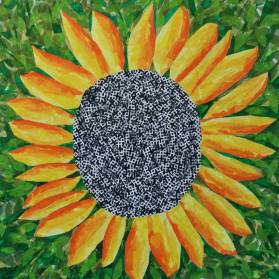 """Sunflower"", 20""x20"" tissue collage by Ruth Warren"