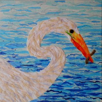 """White Egret"", 12""x12"" mixed media by Ruth Warren"