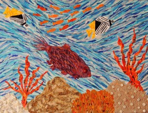 """Coral Reef Currents"", mixed media by Ruth Warren"
