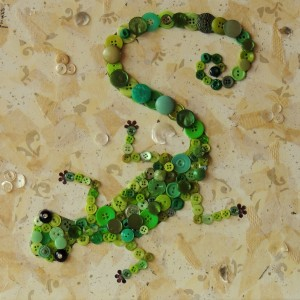 """Green Gecko Making Tracks"", 12""x12"" mixed media button mosaic"