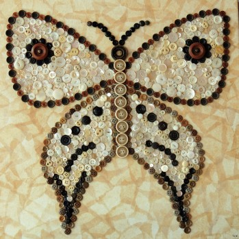 """Brown and White Butterfly"", 20""x20"" button mosaic by Ruth Warren"