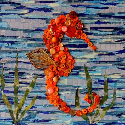 """""""Orange Seahorse"""", 12""""x12"""" mixed media button mosaic"""