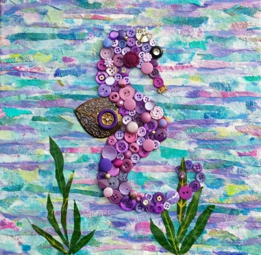 """Purple Seahorse"", 12""x12"" mixed media and button mosaic by Ruth Warren"