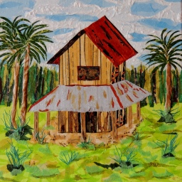 """Harllee Barn Reclaimed"", 12""x12"" mixed media by Ruth Warren"