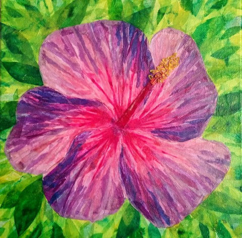 """Nightfire Hibiscus"", 12""x12"" tissue collage by Ruth Warren"