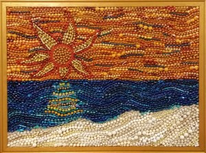 """Sunburst Sunset"" by Ruth Warren, bead mosaic on used cork board"